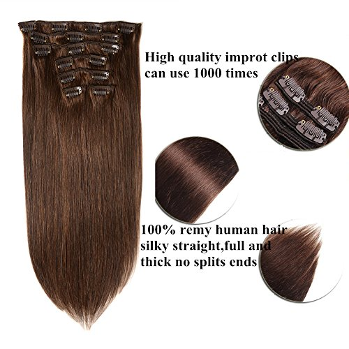 Lovbite Hair Human Hair Clip on Extensions Brazilian Straight Clip In Human Hair Double Weft Grde 8A 22Inches 7Pieces/Lot 100g With 16Clips (22