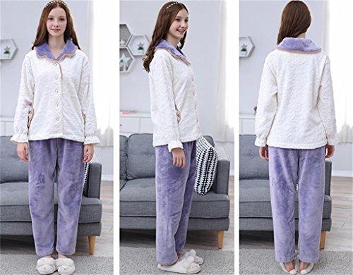 ALUK-Otoño e invierno espesar pijamas de color flanela simple casa simple