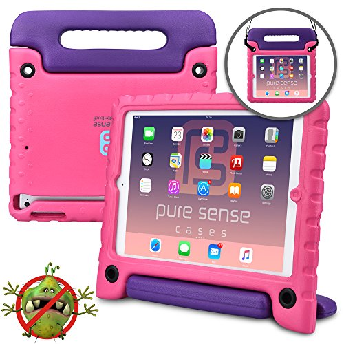 Apple iPad Air 1 case for kids- [Anti Microbial iPad Air Kids Case] PURE SENSE BUDDY Child Proof Shock Protective Cover for Girls | Shoulder Strap, Handle, Stand, Cleaning Kit, Screen Protector (Pink) (Apple Car Seat Cover)