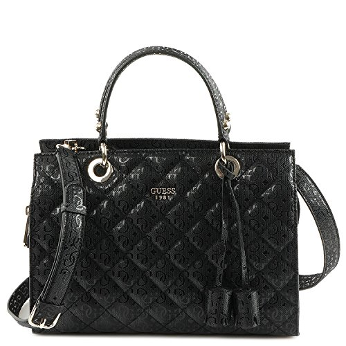 Guess Women's Seraphina Quilted Black Satchel Handbag