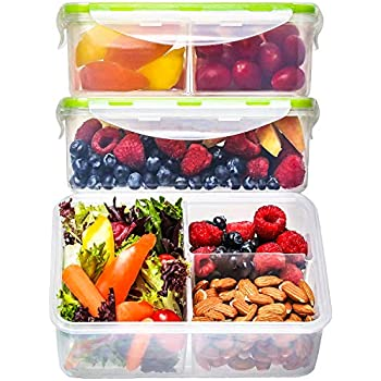 Bento Box Lunch Containers (3 Pack, 39 Ounces) - Bento Boxes for Adults, Lunch Boxes for Kids, 3 Compartment Food Containers with Lids, Bento Lunch Box, BPA FREE, Microwave Safe, Reusable, Leakproof