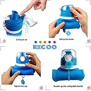 Collapsible Water Bottles, RXCOO 750ML,Medical Grade,BPA Free,FDA Approved,.Can Roll Up,26oz,Leak Proof Foldable Sports & Outdoor Water Bottles (Navy Blue)