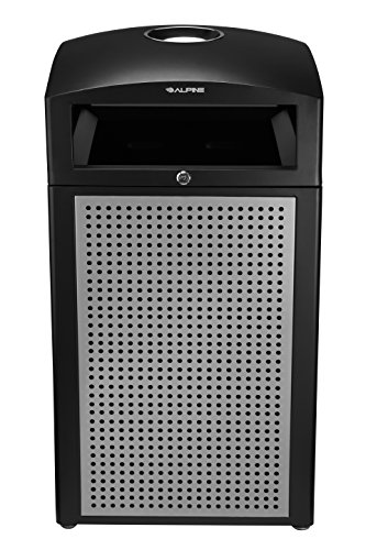 Alpine Industries Rugged 40-Gallon All-Weather Outdoor Recycle Bin Trash Can Container (with Ash Tray Steel Panels)