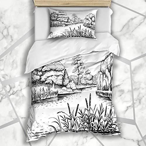 Ahawoso Duvet Cover Sets Twin 68X86 Water Reed River Trees Plants Graphic Nature Line Drawing Sketch Outline Black White Microfiber Bedding with 1 Pillow Shams
