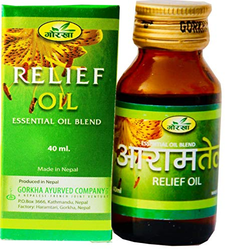 Gorkha Herbal RELIEF MASSAGE OIL Relief: Rheumatism Sciatica Fatigue Migraine & Gout - 100% Organic Highest Quality Herbal Relief Oil For Aromatherapy Massage or Relaxation (40ml) Of Himalayas, Nepal
