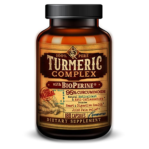 Organic Turmeric Complex with BioPerine�® Black Pepper Extract and 95% Curcuminoids - Anti-Inflammatory, Antioxidant, Joint Pain Relief - 180 Vegetarian Capsules