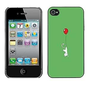 iPhone 4 / 4S - Metal de aluminio y de plástico duro Caja del teléfono - Negro - Cute Balloon Kitty Cat - Funny