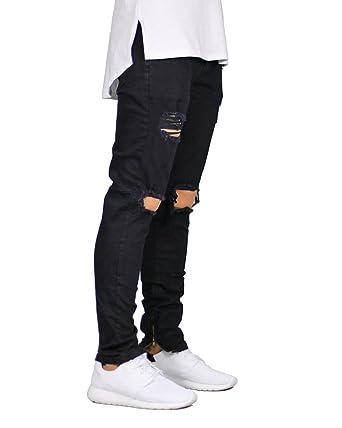 Men S Fashion Junior Ripped Knee Holes Slim Skinny Ankle Zipper
