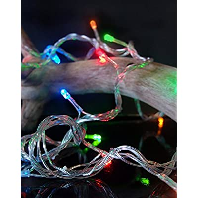Fantado 100 Indoor/Dry Outdoor Multicolor RGB LED Mini String Lights, 28FT Clear Cord, Multi-Flicker Modes by PaperLanternStore