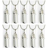 Pasco Specialty Products Family Set of Ten Silver Cancer Awareness Ribbon Cremation URN Necklaces with Velvet Pouches, Ball Chains & Fill Kit - Made in USA