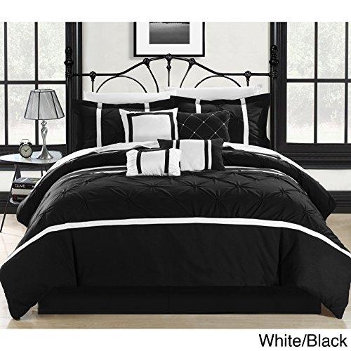 Chic Home Vermont 8-Piece Comforter Set, Queen, Black/White (Black And White Queen Size Comforter Sets)