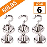 Strong Magnetic Hooks Heavy Duty, ALLOMN Stainless Steel Diameter 1.26 Inches Max 80LB Powerful Neodymium Magnets for Hanging, Strong Hold Hooks for Fridge Indoor and Outdoor Hanging (Pack of 6)