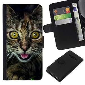KLONGSHOP // Tirón de la caja Cartera de cuero con ranuras para tarjetas - Gatito Ojos Furry Bigotes Coon principal Negro - Samsung Galaxy A3 //