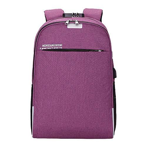 Rojo Púrpura Mochila Intermedia De Unisex Bolsa Bolso Negocios color Suave Usb Qiusa Viaje Informal Capa Computadora U6ZqW