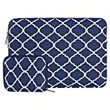 MOSISO Laptop Sleeve Bag Compatible with 15 inch MacBook Pro Touch Bar A1990 A1707, 14 inch ThinkPad Chromebook, Canvas Geometric Pattern Tablet Carrying Cover with Small Case, Navy Blue Quatrefoil