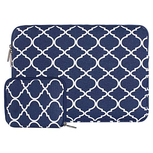 MOSISO Laptop Sleeve Bag Compatible 13-13.3 Inch MacBook Pro, MacBook Air, Notebook with Small Case, Quatrefoil Style Canvas Fabric Protective Carrying Cover, Navy Blue