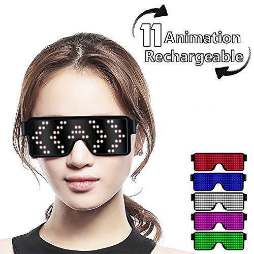 Fancy LED Light up Glasses, USB Rechargeable&Wireless with Flashing LED Display, can Work 6 Hours, Have 8 Dynamic Patterns, Glowing Luminous Glasses for ()