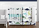 Sweet Jojo Designs 9-Piece Navy Blue and Green Modern Dinosaur Baby Boys or Girls Crib Bedding Set with Bumper