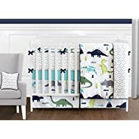 Navy Blue and Green Modern Dinosaur Baby Boys or Girls 9 Piece Crib Bedding S...