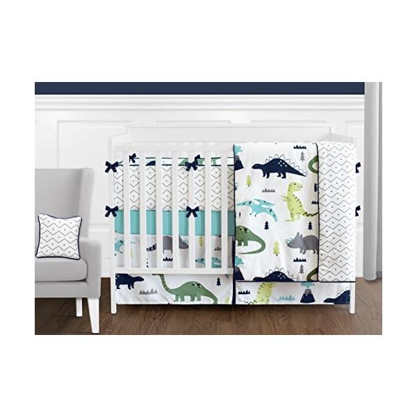 Sweet Jojo Designs 9-Piece Navy Blue and Green Modern Dinosaur Baby Boys or Girls Crib Bedding Set with Bumper