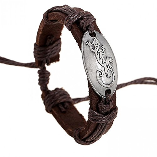 [BMALL Leather Wholseale Handmade Vintage Silver Animal Lizard Charm Leather Bracelet For Women] (Makers Mark Costume)