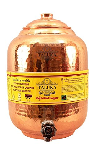 Taluka Handmade Healthy Pure Copper Matka Water Pot Pitcher Pot Water Tank Capacity :- 405.7 Oz for Water Drinking and Storing Purposes Healthy Habits Ayurvedic benefits Weight :- 2200 (Antique Copper Tank)
