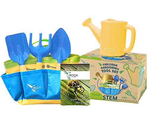 Kids Garden Tools Set with STEM Learning Guide, Tote Bag, Spade, Watering Can, Rake, Fork, Trowel. Learning Toys. Outside Toys by ROCA Toys
