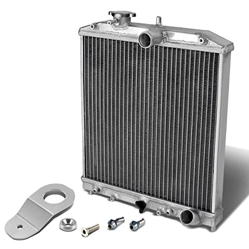 (For Honda Civic EK AT (Auto Transmission) 2-Row Dual Core Aluminum Radiator w/Stay Mount Bracket (Silver))