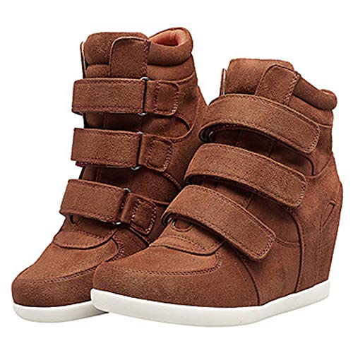 Primavera Donna US7 Blu Brown 5 EU37 Comoda Per UK5 Scarpe TTSHOES CN37 Vino Stivali Marrone Zeppa Nappa Sneakers IwBqCM5