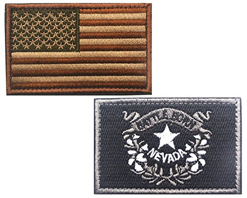 HFDA 2 piece US Flag and BW NEVADA Flag Patches Velcro Moral