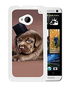 Unique DIY Designed Cover Case For HTC ONE M7 With Labrador Puppy With A Tophat Animal Mobile Wallpaper (2) Phone Case