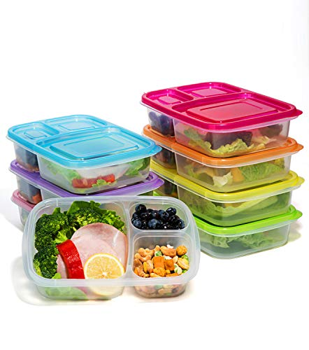 meal prep containers 7 pack bento lunch boxes 3 compartment import it all. Black Bedroom Furniture Sets. Home Design Ideas