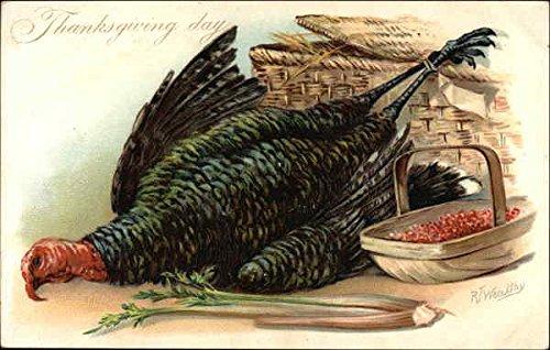 Thanksgiving Day, With Turkey and Cranberries in Basket Turkeys Original Vintage Postcard