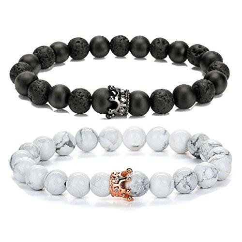 SEVENSTONE 2PCS Crown Couples Bracelet for Men Women King&Queen Bracelet Adjustable 8MM Beads by SEVENSTONE