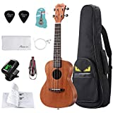 "Soprano Ukulele For Beginners 23"" Mahogany Ukulele Kit with Ukelele Tuner,Stap,String,Picks,Waterproof bag&Book,Free Video/Online Lessons"