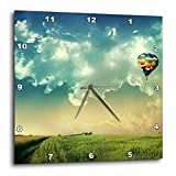3dRose dpp_66307_1 Hot Air Balloon Scene, Blue Sky, Green Grass-Wall Clock, 10 by 10-Inch For Sale