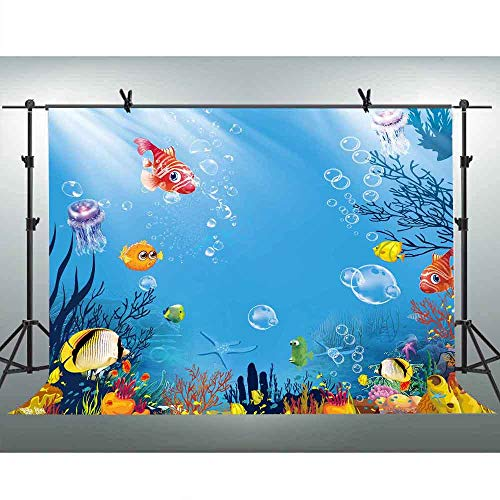 FLASIY 10x7ft Cartoon Underwater World Photography Backdrop Coral Grass Fish Seabed Photo Background for Children Kids Party Photo Booth Studio Props LXAY014