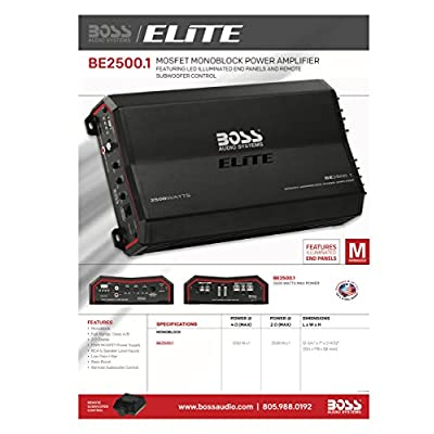 BOSS Audio Systems Elite BE2500.1 Monoblock Car Amplifier - 2500 Watts, 2 4 Ohm Stable, Class AB, Mosfet Power Supply, Great For Subwoofers