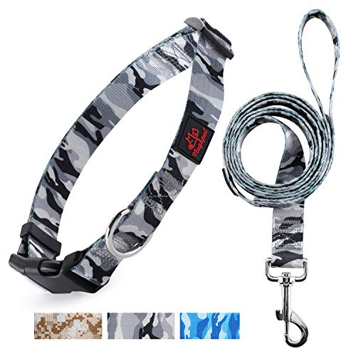 Negbpol Dog Collars and Leash Set,Pet Essentials for Small Medium Large Dogs,Adjustable Military Camouflage Style Personalized Dog Collars ,Nylon Camouflage Gray Small 2 Piece Set