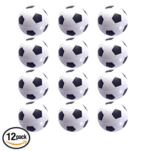 Mini Sports Balls for Kids Party Favor Toy, Soccer Ball, Basketball, Football, Baseball (12 Pack) Squeeze Foam for Stress, Anxiety Relief, Relaxation. (12 Pack (Soccer (Small Soccer Ball)