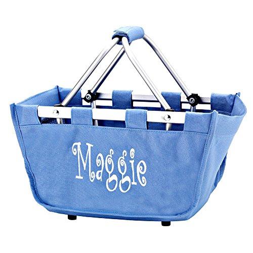 Personalized Hydrangea Blue Mini Market Collapsible Tote Basket