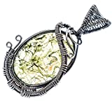 """Green Moss Agate 925 Sterling Silver Pendant 2 1/4"""" - Handmade Jewelry PD622085"""