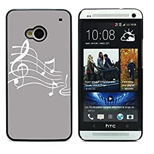 Graphic4You Music Note Pattern Design Hard Case Cover for HTC One (M7) (Gray)