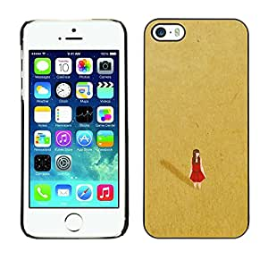 Soft Silicone Rubber Case Hard Cover Protective Accessory Compatible with Apple iPhone? 5 & 5S - red desert alone lonely gold dress