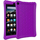 MENZO Case for All-New Amazon Fire HD 8 Tablet - Anti Slip Light Weight Shockproof Soft Silicone Defender Protective Case Cover for Amazon Fire HD 8 (2017 Release) Tablet, Purple