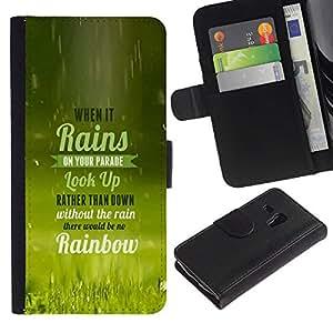 LECELL--Cuero de la tarjeta la carpeta del tirón Smartphone Slots Protección Holder For Samsung Galaxy S3 MINI 8190 -- Cuando llueve TIPOGRAFÍA --
