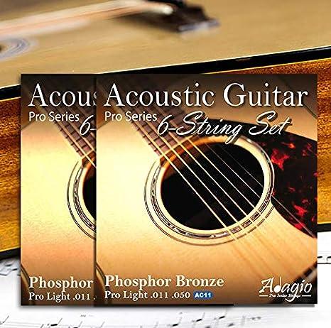 ADAGIO PRO - Juego de 2 cuerdas para guitarra acústica (calibre 11-50, bronce fosforado, también apto como cuerdas electroacústicas y cuerdas semiacústicas