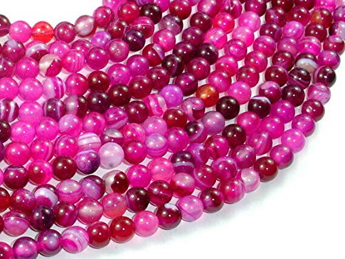 Bead Jewelry Making Art Craft Banded Agate Beads, Fuchsia Agate, 6mm(6.3mm) Round Beads, 15 Inch ()
