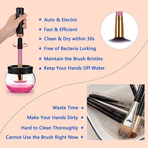 Makeup Brush Cleaner, Portable Automatic Brush Dryer and Cleaner, Deep Thorough Cleaning in Seconds, Suits Most Make Up Brush, Black Cleaning Spinner/Kits for Women … by ADDSMILE (Image #4)
