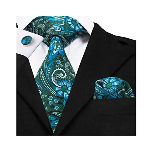 (Green Paisley Tie Set Woven Silk Handkerchief Cufflinks Neckties for)